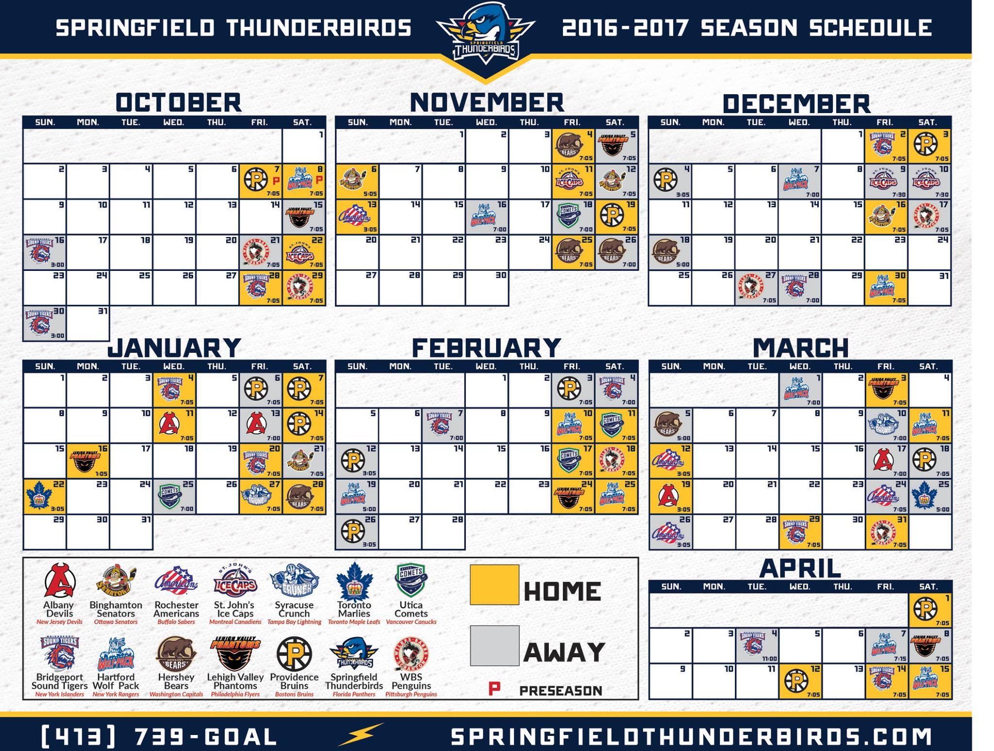 2016 17 Regular Season Schedule Unveiled Springfield Thunderbirds